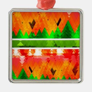 Orange grüner Fall-themenorientierte Tapete Quadratisches Silberfarbenes Ornament