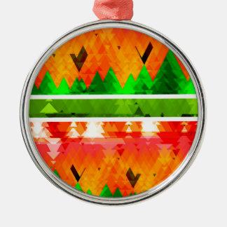 Orange grüner Fall-themenorientierte Tapete Rundes Silberfarbenes Ornament