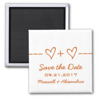 Orange Herz-Gleichungs-Save the Date Magnet Quadratischer Magnet