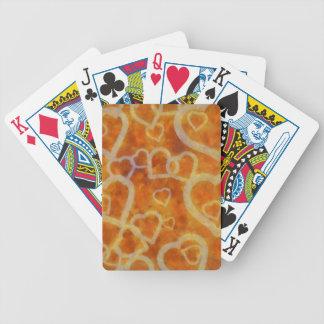 Orange Herz-Schablonen-Beschaffenheit Bicycle Spielkarten