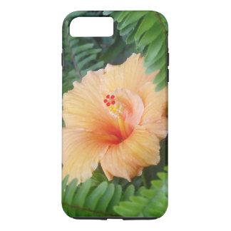 Orange Hibiskus-Blume mit Farnen iPhone 8 Plus/7 Plus Hülle