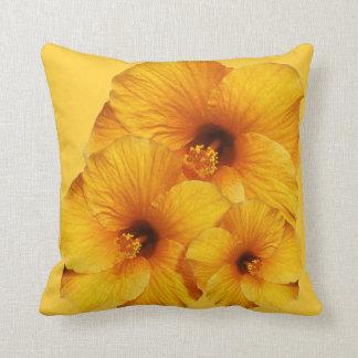 Orange Hibiskus-Blumen-Amerikaner MoJo Kissen