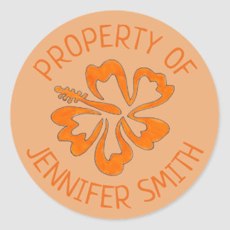 Orange Hibiskus-Blumen-personalisiertes Eigentum Runder Aufkleber