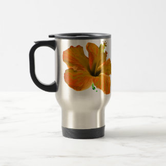 Orange Hibiskus-Blumen Reisebecher