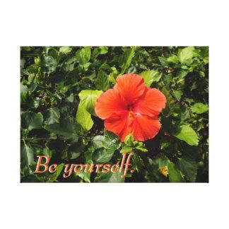 Orange Hibiskus und positives Zitat Leinwanddruck