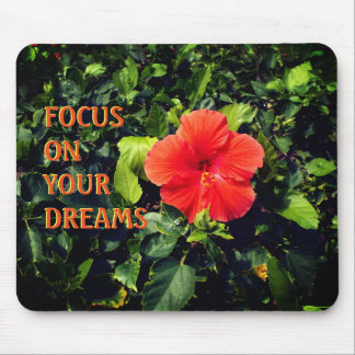 Orange Hibiskus und positives Zitat Mousepads