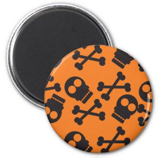 Orange Hintergrund Halloween der Totenköpfe mit Runder Magnet 5,1 Cm