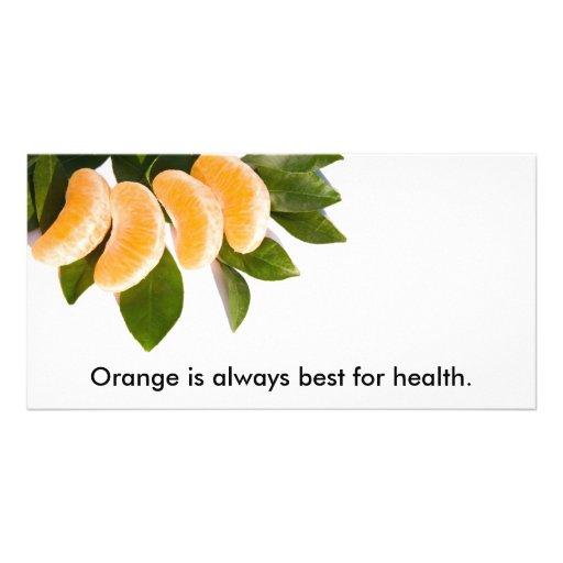 Orange ist immer für Gesundheit am besten Photo Karten Vorlage