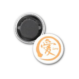 Orange japanisches Kanjisymbol des Zenkreises | Runder Magnet 3,2 Cm