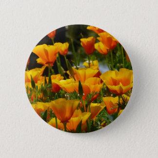 Orange Kalifornien Poppies_3.1 Runder Button 5,7 Cm