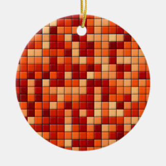 Orange Karos Keramik Ornament