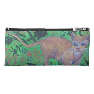 orange Kätzchen auf grünem Bleistiftkasten Stiftetasche