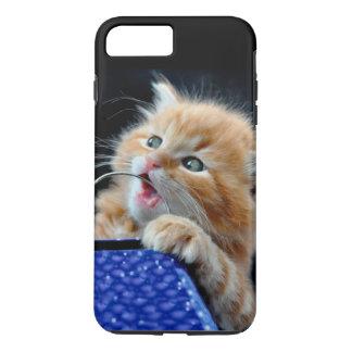 Orange Katze CUB spielendes und schneidendes Blau iPhone 8 Plus/7 Plus Hülle