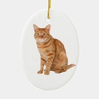 Orange Katze Keramik Ornament