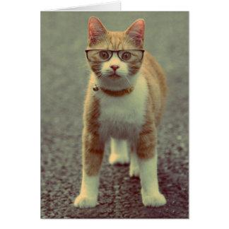 Orange Katze mit Gläsern Karte