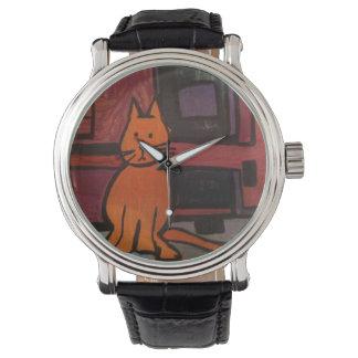 Orange Katzen-Malerei-Uhr durch Willowcatdesigns Uhr