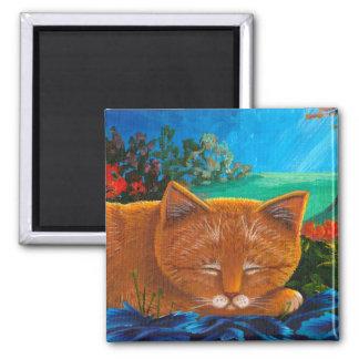 Orange Katzen-Mondschein Creationarts Quadratischer Magnet