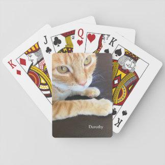 Orange Katzennahaufnahme Spielkarten