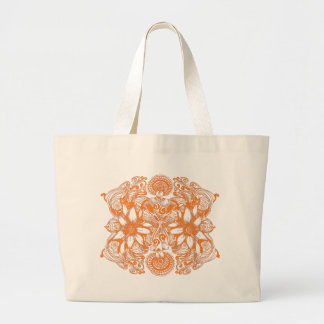 Orange kosmische Blumen-Explosion Jumbo Stoffbeutel
