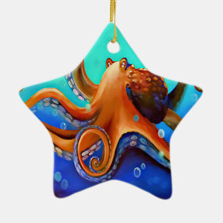 Orange Krake Keramik Ornament