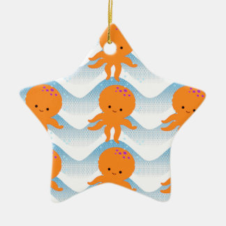 Orange Krake und blaues Wellen-Muster Keramik Ornament