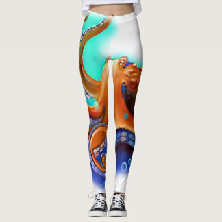 Orange Kraken-Gamaschen Leggings