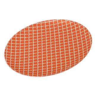 Orange Krawatten-Muster Flache Teller