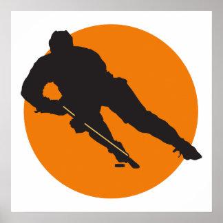 orange Kreisentwurf der Eishockey-Silhouette Poster