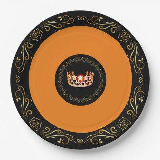 """Orange Krone 9"""" Fräulein-USA PapierTeller"""