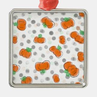 Orange Kürbis-und Tupfen-Aquarell-Skizze Quadratisches Silberfarbenes Ornament