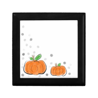 Orange Kürbise und Tupfen-Aquarell-Skizze Geschenkbox