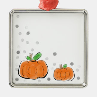 Orange Kürbise und Tupfen-Aquarell-Skizze Quadratisches Silberfarbenes Ornament