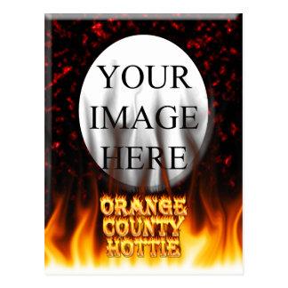 Orange Landkreis hottie Feuer und Flammen Rot Postkarte