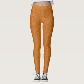 Orange Leinwand-Beschaffenheit Leggings