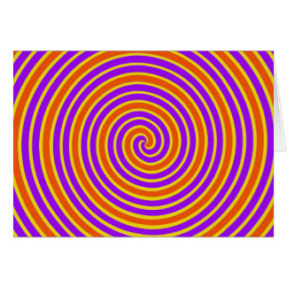 Orange lila gelbe schwindlige Spirale Karte