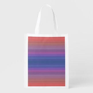 Orange lila und blaue Streifen-Entwurf Einkaufstasche