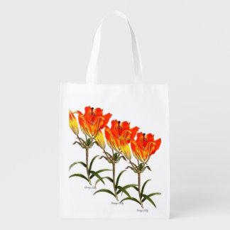 Orange Lilie Wiederverwendbare Einkaufstasche