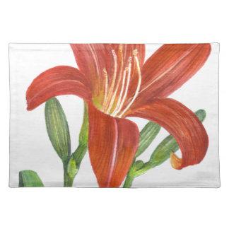 Orange Lilien-botanische Illustration Tischset
