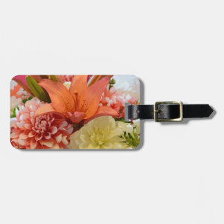 Orange Lilien- und Dahlie-Blumen Kofferanhänger