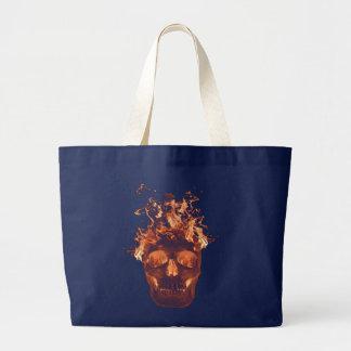 Orange lodernde Schädel-Taschen-Tasche Jumbo Stoffbeutel