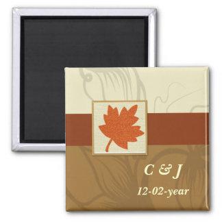orange Magnet des Herbstes Save the Date Quadratischer Magnet