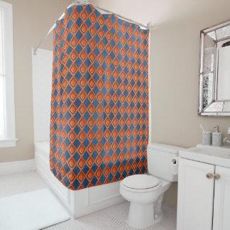 Orange Marine-Blau-Aquarell-Muster Duschvorhang