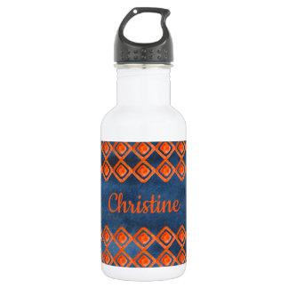 Orange Marine-Blau-Aquarell-Muster Edelstahlflasche