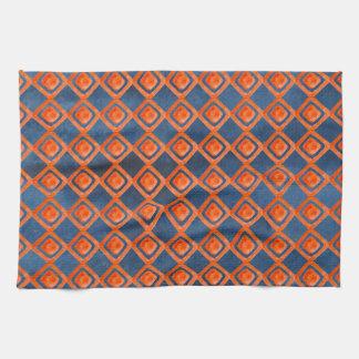 Orange Marine-Blau-Aquarell-Muster Geschirrtuch