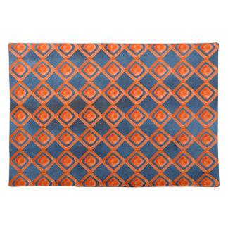 Orange Marine-Blau-Aquarell-Muster Tischset