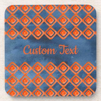 Orange Marine-Blau-Aquarell-Muster Untersetzer