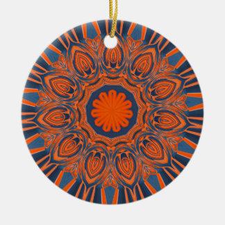 Orange Marine-Blau-Mandala Keramik Ornament