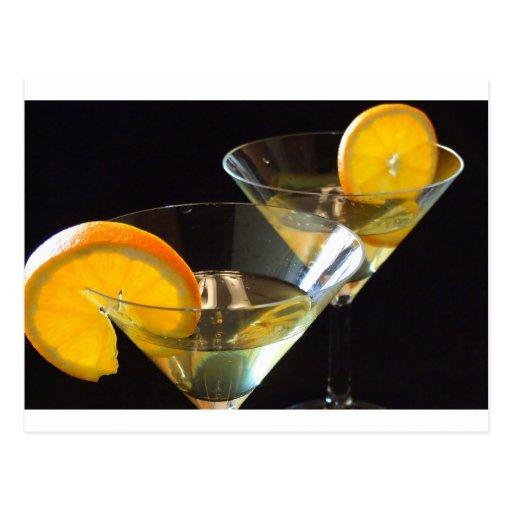 Orange Martini Postkarte