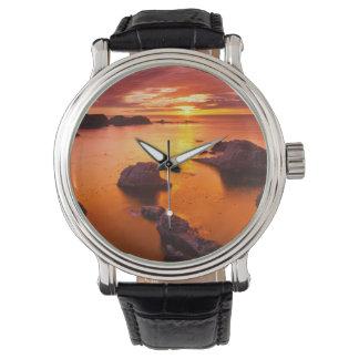 Orange Meerblick, Sonnenuntergang, Kalifornien Uhr