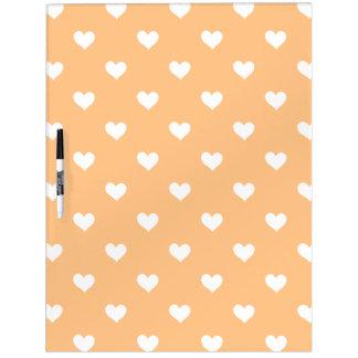 Orange mit weißes Herz-trockenem Löschen-Brett Memoboard